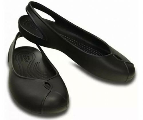 Women's Crocs Olivia II Flat Black Girls Crocs Brand New UK3 EU34-35 US5